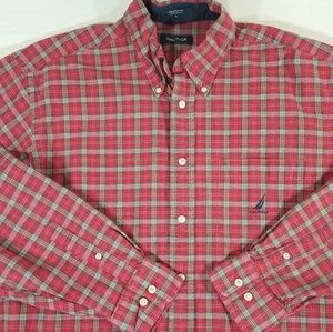 Nautica Plaid LS  Button Down Shirt Spellout Logo